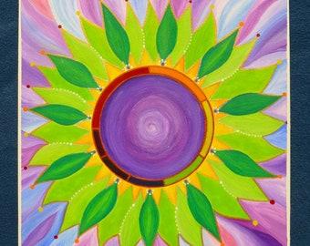 Open Up Flower Healing Meditation Mandala Original Painting