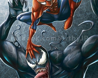 Spider-Man and Venom Painting Poster Print