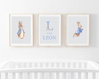 Baby boy girl Peter Rabbit  Beatrix Potter nursery print | bunny prints | rabbit nursery art | gift | present | blue and grey