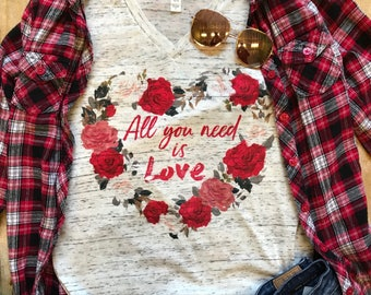 Mother's Day Shirt All you Need is Love Shirt Birthday Gift for Her Mom shirts for Women Love Shirt Flower Wreath Red Rose Wreath Mothers T
