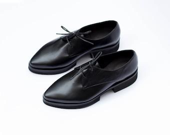 Women Black Oxfords, Oxford Flat Shoes, Black Leather Shoes, Women Oxford Flats, Custom Shoes, Platform Oxfords, Black Shoes, Pointy Shoes