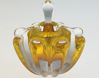 Hand Blown Glass Perfume Bottle - Gold Topaz Optic  by Jonathan Winfisky