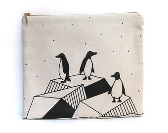 Cotton zipper pouch, toilet bag, handbag screen printed. Penguins Illustration