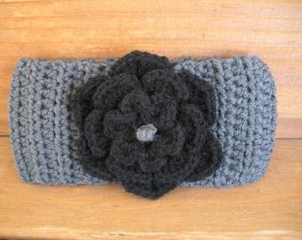 Crochet Headband Womens Headband Winter Fashion Accessories Womens Earwarmer in Charcoal Gray with  Black crochet flower