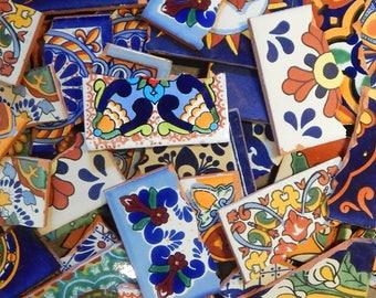 Broken Mexican Talavera Tiles Handmade Mix Designs Colorful Mosaic Tile Pieces 10 Pounds