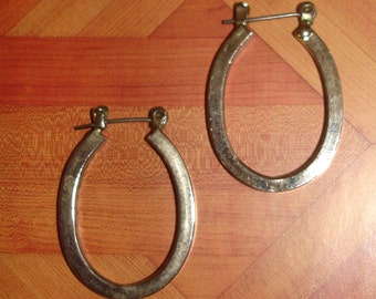 vintage horseshoe oval hoops silver pierced earrings