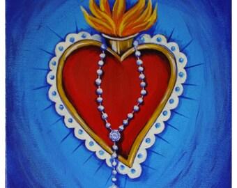 "Sacred Heart painting ""Rosary"" ORIGINAL ARTWORK 8x10 acrylic on canvas"