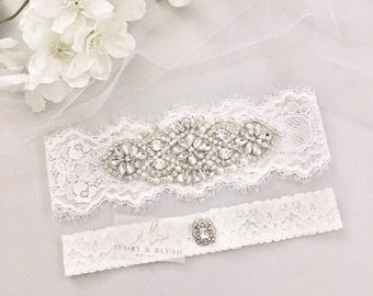 Wedding Garter LIGHT IVORY - Bridal Garter Lace Garter Wedding Garter Set Something Blue Bridal Garter Set Rhinestone Garter - Style #L0117