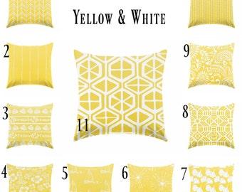 Yellow pillow covers, yellow & white pillows , coastal pillows , nautical pillow , beachhouse, Lumbar pillow , Euro sham