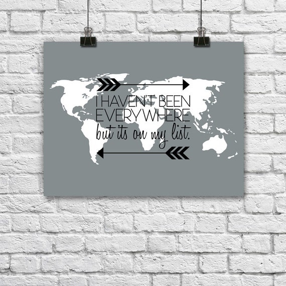 World map quote poster travel print wanderlust typography gumiabroncs Choice Image