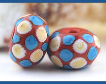 Chaco Canyon...Coral, Turquoise, and Ivory Spotted Lampwork Bead Pair, Made To Order