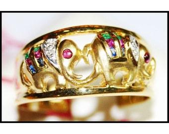 Diamond Jewelry 18K Yellow Gold Multi Gemstone Elephant Ring [RR001]