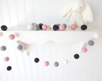 Baby Girl Nursery Decor, Felt Ball Garland, Pom Pom Garland, Kids Wall Art, Kids Room Decor, Playroom Decor, Wall Decor, Pink Black Gray