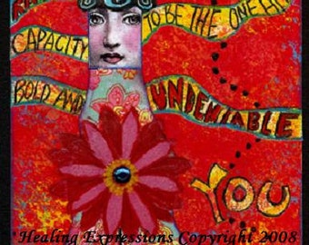 UnDENIABLE YoU 5X7 COLLAGE PRINT funky woman face art journal collage healing recovery survivor hope healing therapy