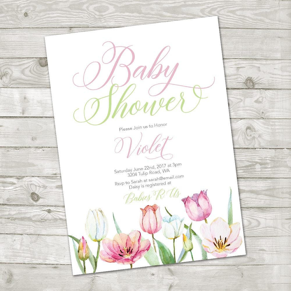 Spring Floral Baby Shower Invitation Spring Baby Shower Baby