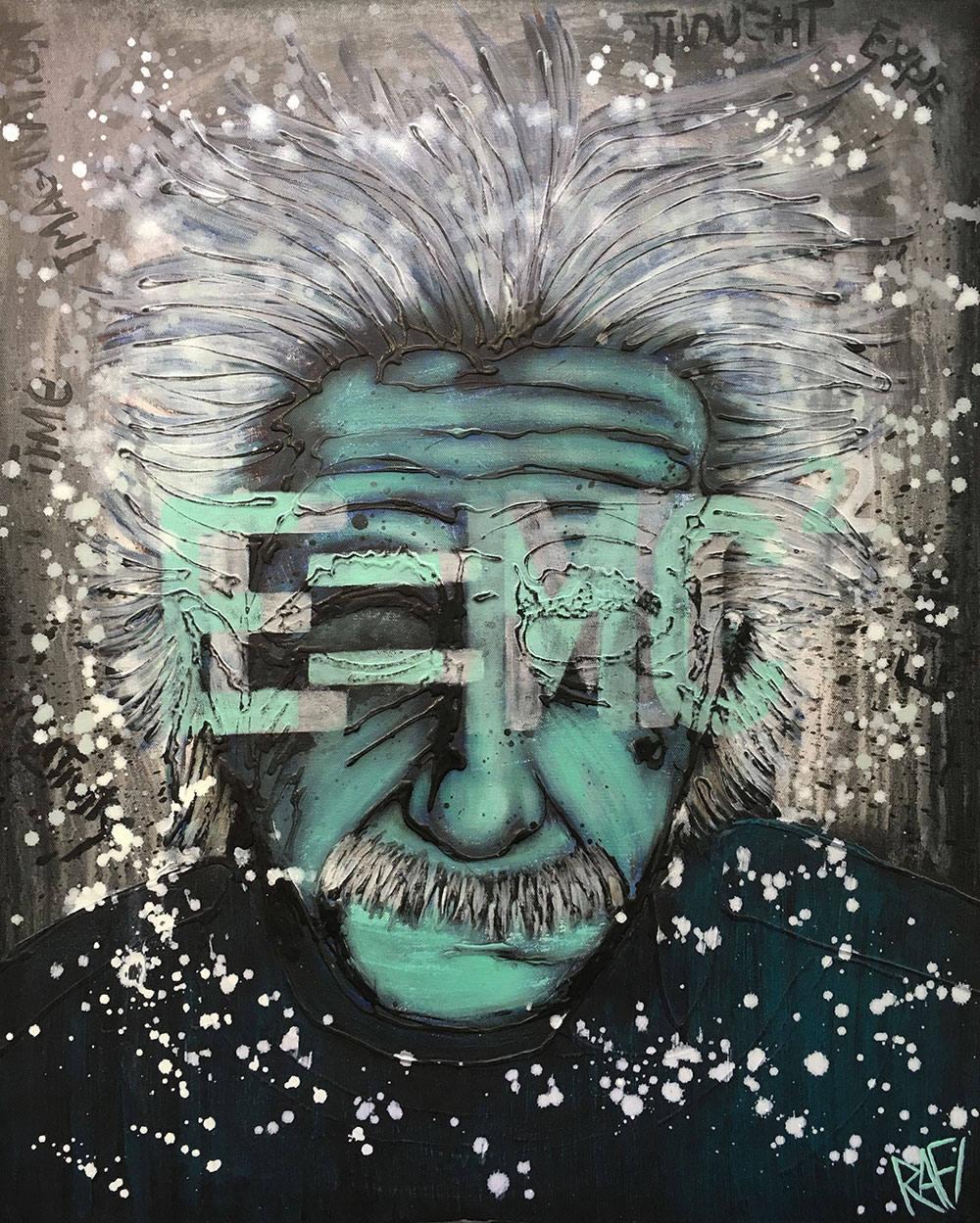 Original Painting Albert Einstein Expressions Of Influence Series Wall Art by artist Rafi Perez & Original Painting Albert Einstein Expressions Of Influence Series ...