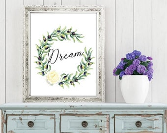 Wall art quotes - floral Dream