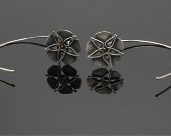 Ready to ship earrings. SAY IT with FLOWERS. Organic distressed  finish. Handmade from recycled sterling silver and 14K yellow gold.
