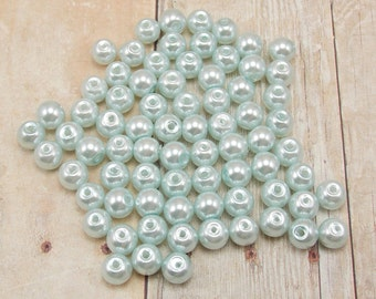 4mm Glass Pearls - Pale Blue - 100 pieces - Dusty Blue - Cool Blue