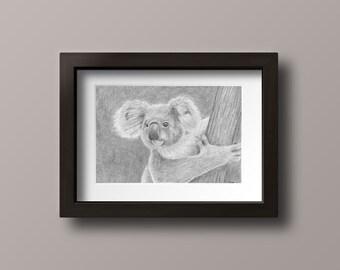 Koala Print - Koala Bear - Koala Art - Koala Drawing Print - Koala Wall Art - Koala Nursery - Jungle Nursery - Koala Decor - Nursery Decor