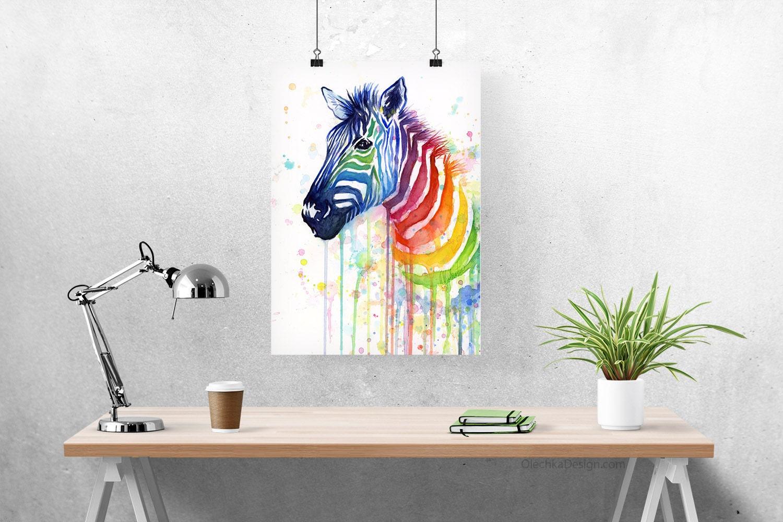 Room Decor Art Watercolor Painting Rainbow Zebra Zebra Art Girls Room