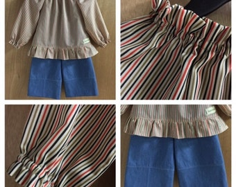 Striped Peasant Top and Denim Pants, size 3t