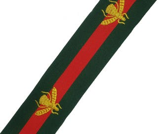 Green Red Striped Rubber Elastic Trim with Gold Embroidered Bees, Fashion Ribbon Trim