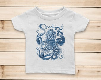 Deep Sea Baby Short Sleeve T-Shirt, vintage nautical mark v dive helmet and octopus print, baby gift, kids gift, infant tee, girl or boy