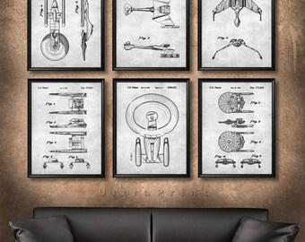 SET of 6 Star Trek Spaceship Posters, Patent Illustration, Art Print or Canvas Wall Art Decor, Battle Cruisers, Star Trek Gift - s663