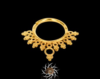 Azad Gold Septum Ring - Septum Jewelry - Septum Piercing - 18G Septum Ring - 16G Septum Ring - Tribal Septum Ring - Indian Septum Ring (G14)