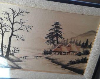 Asian Silk Painting / Trees/Pond/Bridge/House/ Mountains