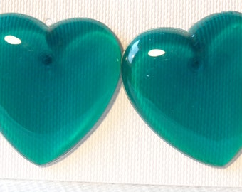 VINTAGE Earrings HEART earrings Lucite Earrings Sea Green Heart Earrings 1.25 inch Diameter Large Heart Earrings