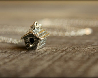 Tiny Birdhouse Necklace in Sterling Silver