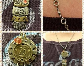 Steampunk Owl Dangle Necklace
