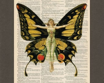 Butterfly Fairy, Dictionary Art Print, Upcycled Dictionary Page, Old Book Art, Decorative Wall Art, 043