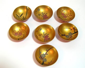Oriental Miniature Painted Wood Bowls Set of Seven