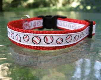 XS Dog Collar, Baseballs, dog collar for boy, dog collar for girl, cute dog collar, fun dog collar, baseball dog collar, red dog collar