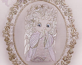 Angel. Angel with applique frame . Machine embroidery design instant download