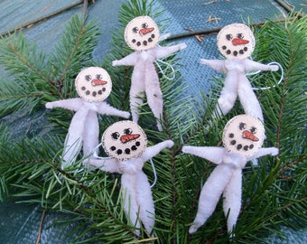 5 Christmas Ornaments, Snowman Ornament, Pipe Cleaner Ornaments, Vintage Ornaments, Christmas Tree Ornament
