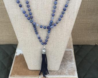 Sodalite & Labradorite 42 inch Necklace with Navy Suede Tassel