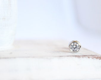 1 Piece - Round Silver Charm with Cubic Zirconia - Rhodium Plated over Brass - 6.8mm Diameter- Small Silver CZ Charm Bulk Supplies / RP-021