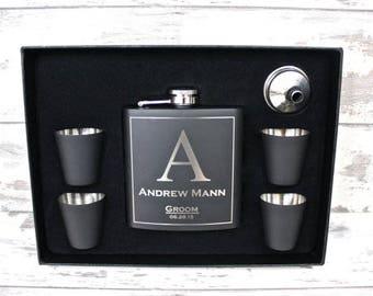 3 - Personalized Flask Sets, Groomsmen Gift, Groomsmen Flask, Gift for Groomsmen, Custom Flask, Monogram Flask, Engraved Flask Sets