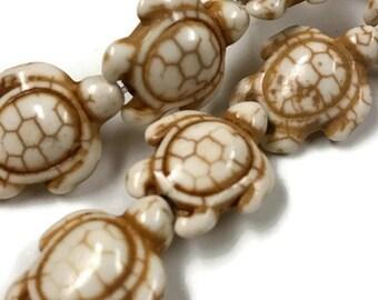 23 Howlite Turtle Beads 18mm x 14mm, 908