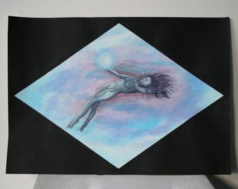 Acrylic painting on card stock - The woman in the sky