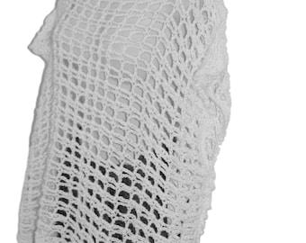 White Wedding Top, Crochet Bolero, White Dolman, Crochet White Sweater, Bridal Wear, Wedding Apparel, Womans White Sweater, Plus Size, 4X