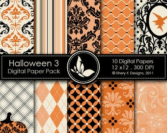 Halloween 3 Paper Pack - 10 Digital papers - 12 x12 - 300 DPI //////3