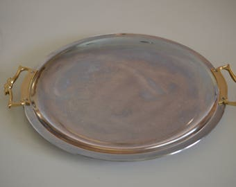 Vintage unique silver toned tray, mirrored style tray