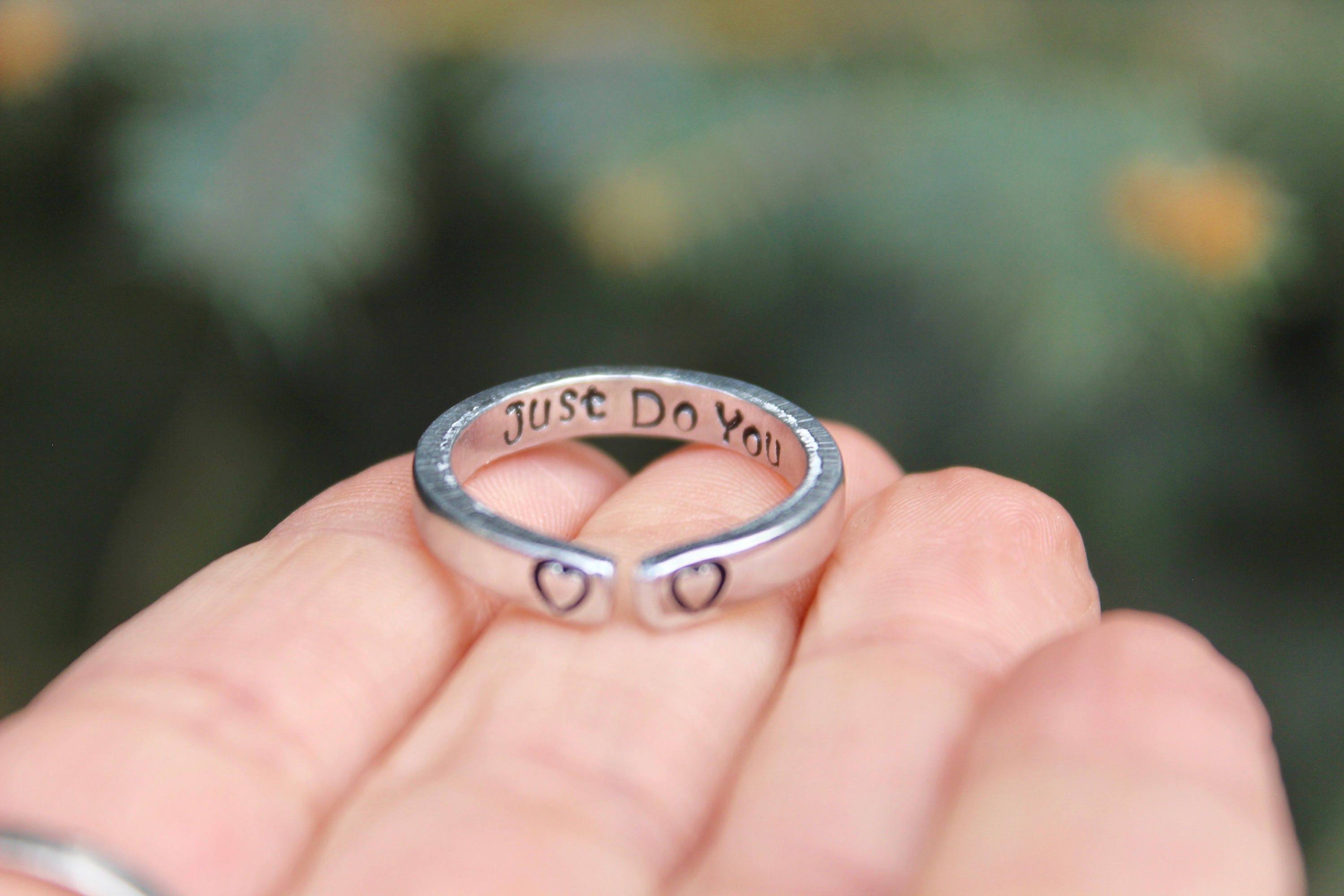 Just Do You Mantra Ring Adjustable Ring Hand-Stamped Heart