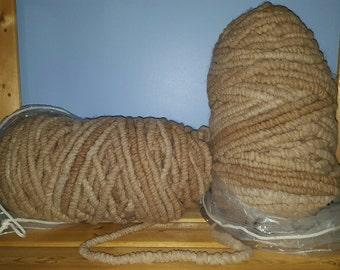 Fawn Alpaca Rug Yarn - Corespun Alpaca Yarn - 100 yards - 100% Virginia alpaca fiber - undyed seconds (neck fiber) - Clearance Sale