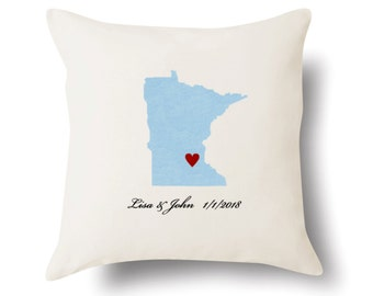 Minnesota Pillow - Minnesota Gift - Personalized MN State Map Pillow - 4 Color Choices
